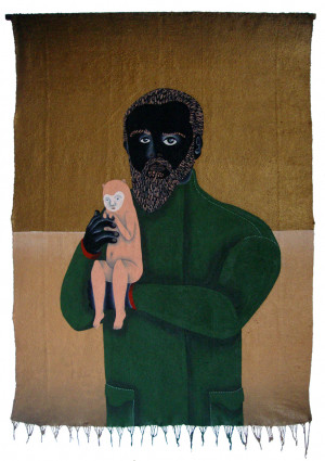 'nino & shane '   acrylic on tapestry   170 x 115 cm.   sold to private collection