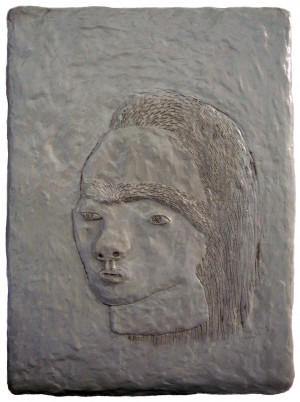 'mairi'   clay on panel   38 x 28 cm.