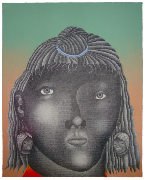 'Coba'   pencil and acrylic on canvas-panel   30 x 24 cm.   sold to private collection